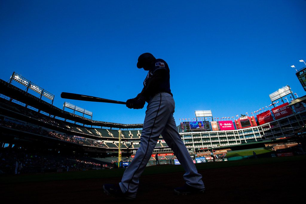 Texas Rangers designated hitter Adrian Beltre steps into the on-deck circle during the first inning against the San Diego Padres at Globe Life Park on Wednesday, June 27, 2018, in Arlington. (Smiley N. Pool/The Dallas Morning News)