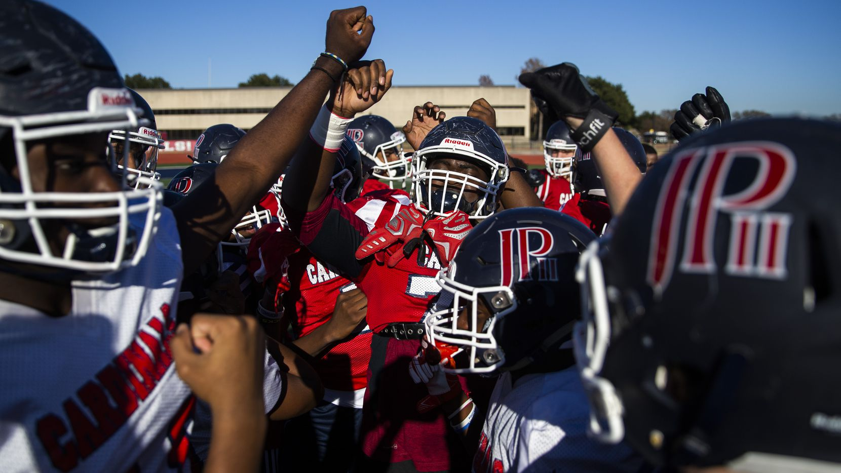 The John Paul II High School football team practices on Tuesday, December 3, 2019 in Plano. They play in the TAPPS Division I state championship game on Friday. (Ashley Landis/The Dallas Morning News)