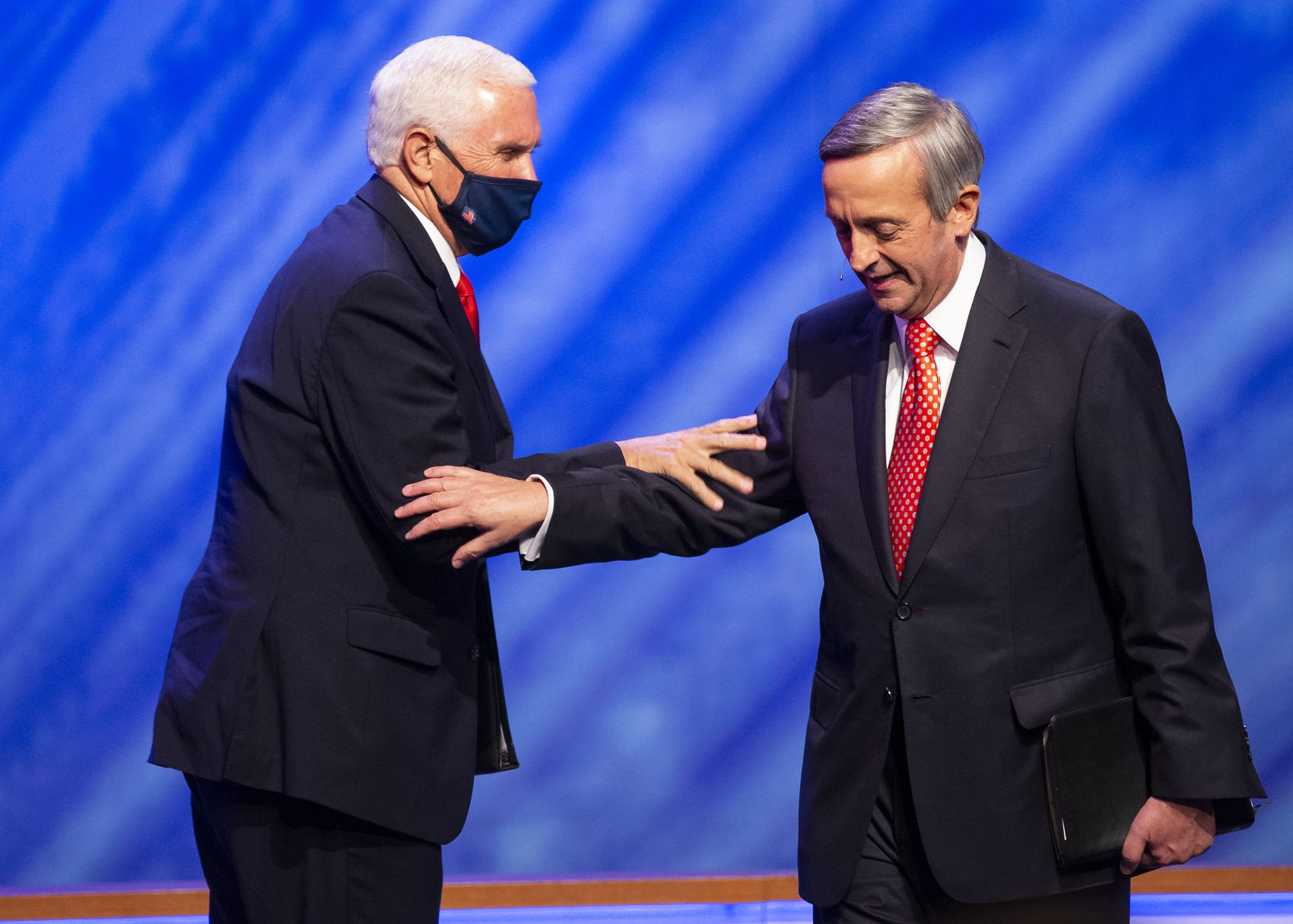 Pastor Robert Jeffress introduces Vice President Mike Pence before speaking at First Baptist Church's Celebrate Freedom event in downtown Dallas on June 28.