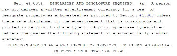 State law is clear on the selling of homestead designation forms.