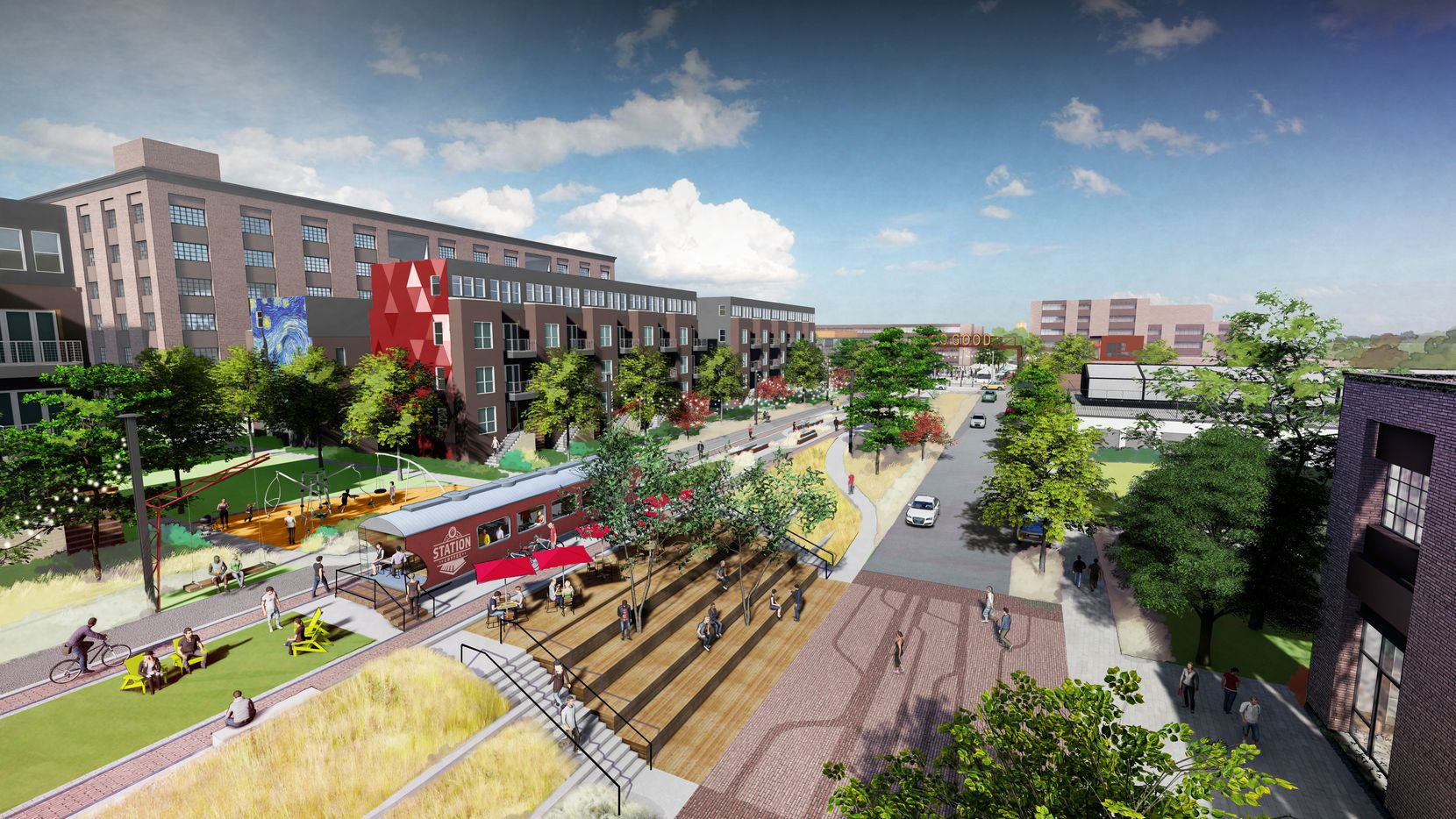 The SoGood mixed-use project planned south of downtown Dallas would have blocks of new apartments, shops and commercial space along a linear park.