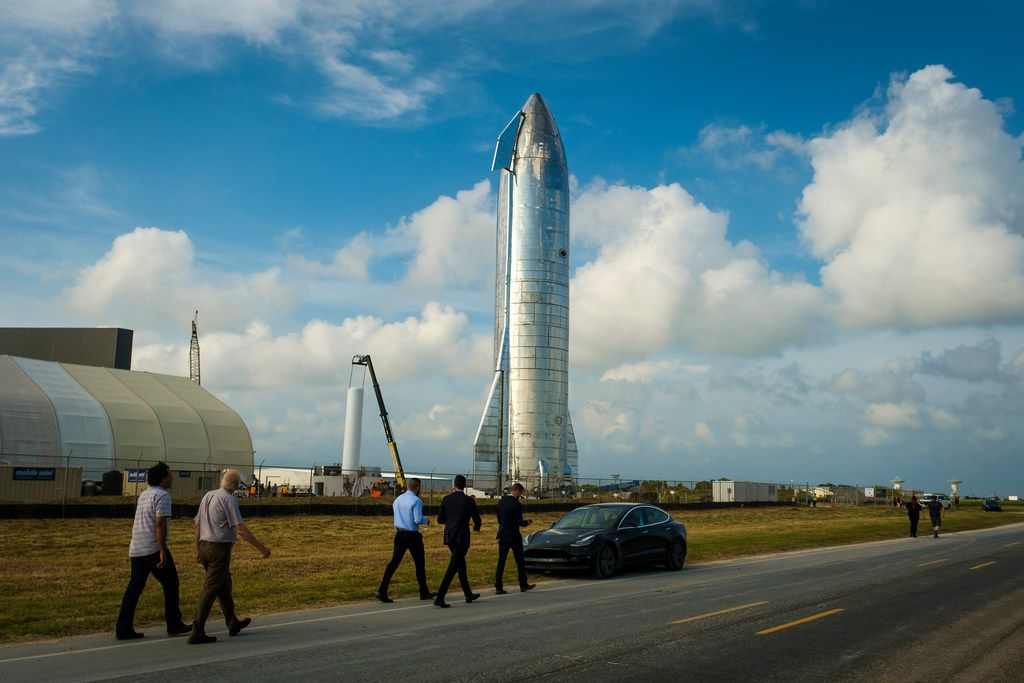 Guests arrive to see SpaceX CEO Elon Musk presented a prototype of the Starship spacecraft at the company's  Space Launch Facility in Boca Chica, Texas, on Saturday, Sept. 28, 2019.