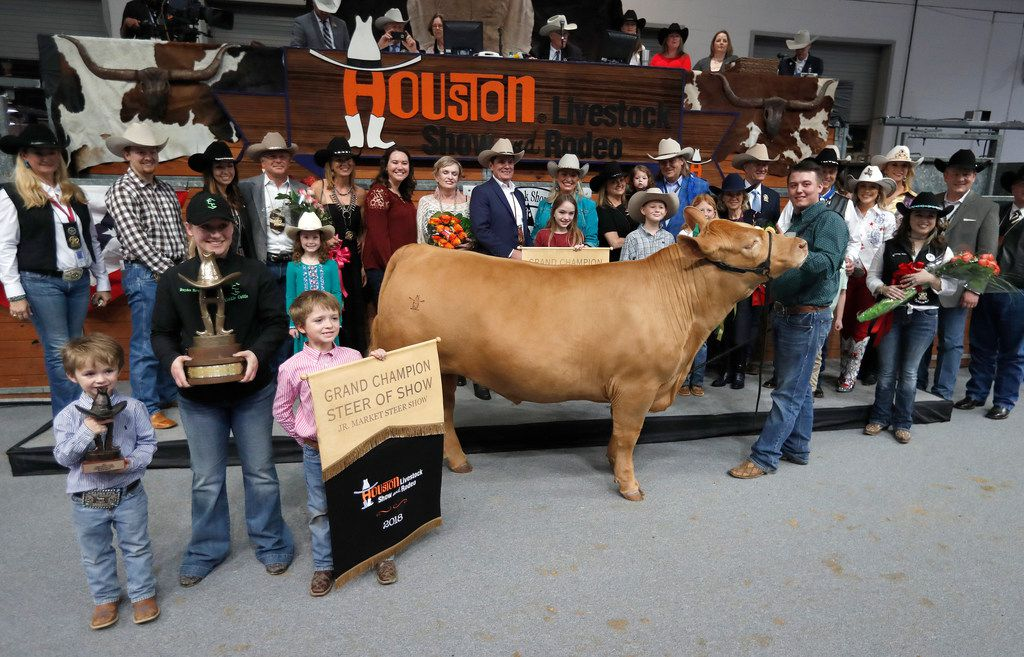 In this 2018 photo, Cameron Conkle poses with his steer Loki, which fetched $410,000 at the Junior Market Steer Auction at the Houston Livestock Show and Rodeo at NRG Arena.