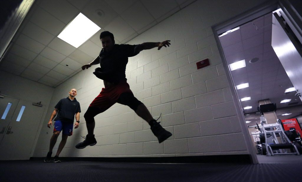 Texas Rangers relief pitcher Matt Bush works on his conditioning in a hallway by the indoor batting cages at Globe Life Park in Arlington, photographed on Thursday, January 26, 2017. (Louis DeLuca/The Dallas Morning News)