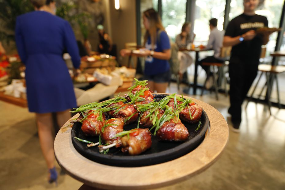 The kitchen served bacon-wrapped pheasant at a Barley & Board pre-opening party in June 2021.