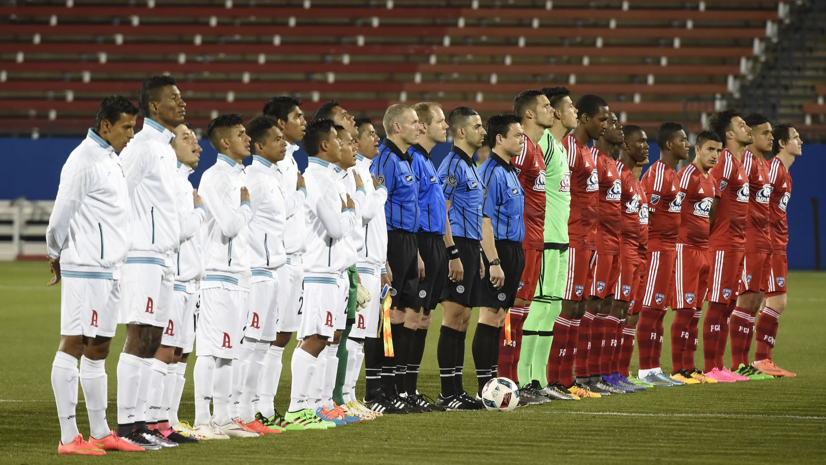 Alianza FC, left, and FC Dallas, line up prior to their preseason game at Toyota Stadium in Frisco, Texas, on February 20, 2016. (Michael Ainsworth/Special Contributor)