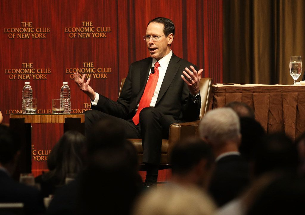 AT&T CEO Randall Stephenson speaks at an Economic Club of New York luncheon Nov. 29. The Dallas-based company announced Wednesday that once the tax code overhaul was signed into law, it would pay a special $1,000 bonus to more than 200,000 AT&T U.S. employees.
