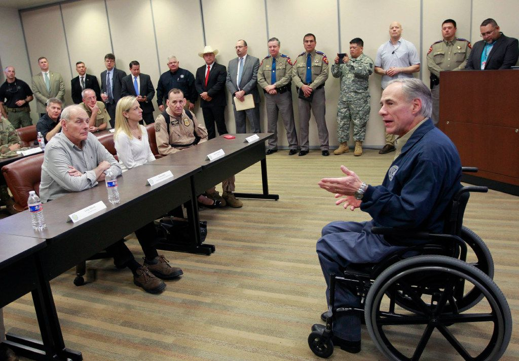 Gov. Greg Abbott (right) talks with Secretary of Homeland Security John Kelly (left) before a briefing on border security Wednesday Feb. 1, 2017 at the Texas Department of Public Safety regional headquarters in Weslaco, Texas. (Nathan Lambrecht/The Monitor)