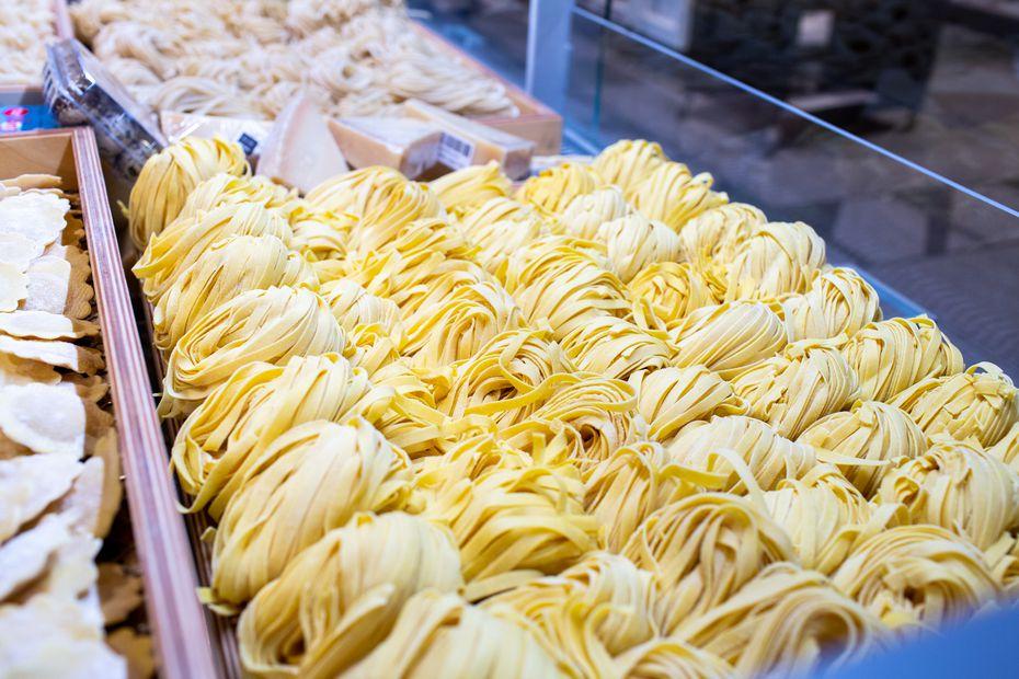 Fresh pasta sold at Eataly.