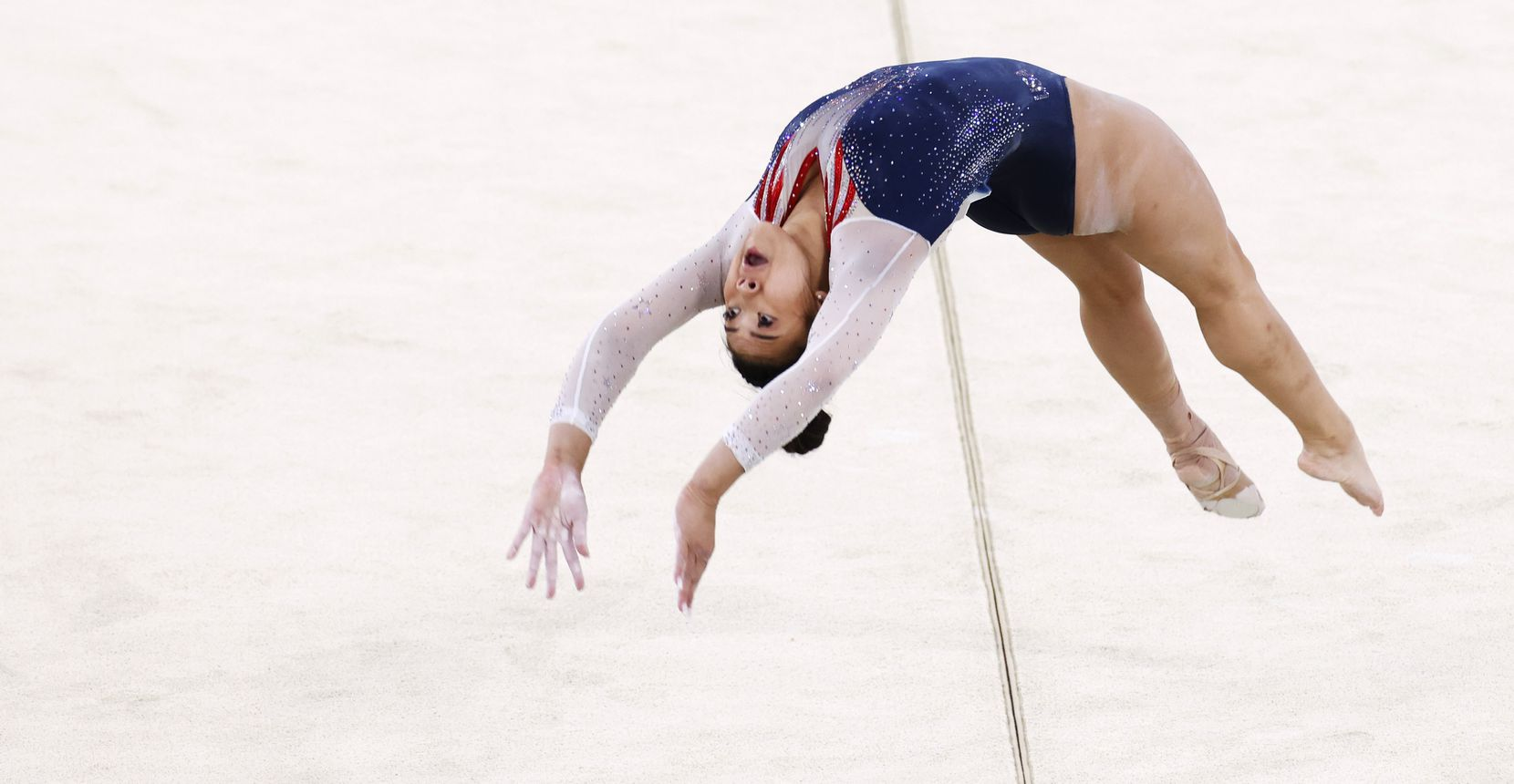 USA's Sunisa Lee competes on the floor during the women's all-around final at the postponed 2020 Tokyo Olympics at Ariake Gymnastics Centre, on Thursday, July 29, 2021, in Tokyo, Japan. (Vernon Bryant/The Dallas Morning News)