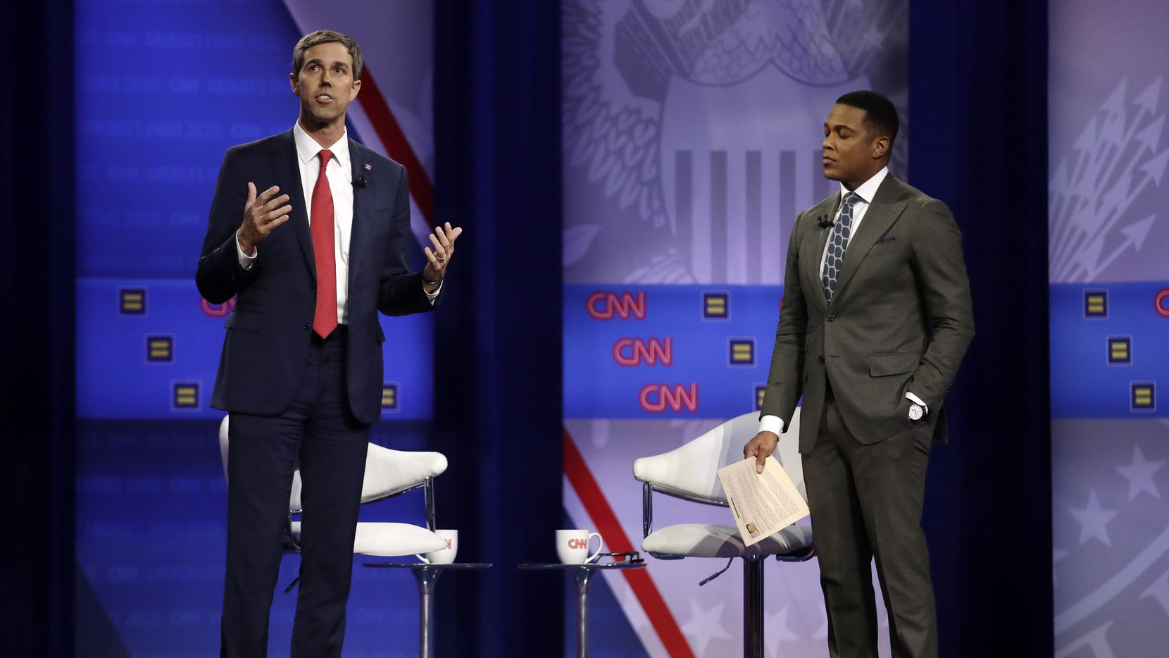 Democratic presidential candidate former Texas Rep. Beto O'Rourke (left) speaks as CNN moderator Don Lemon listens during the Power of our Pride Town Hall on Oct. 10, 2019, in Los Angeles. AP Photo/Marcio Jose Sanchez