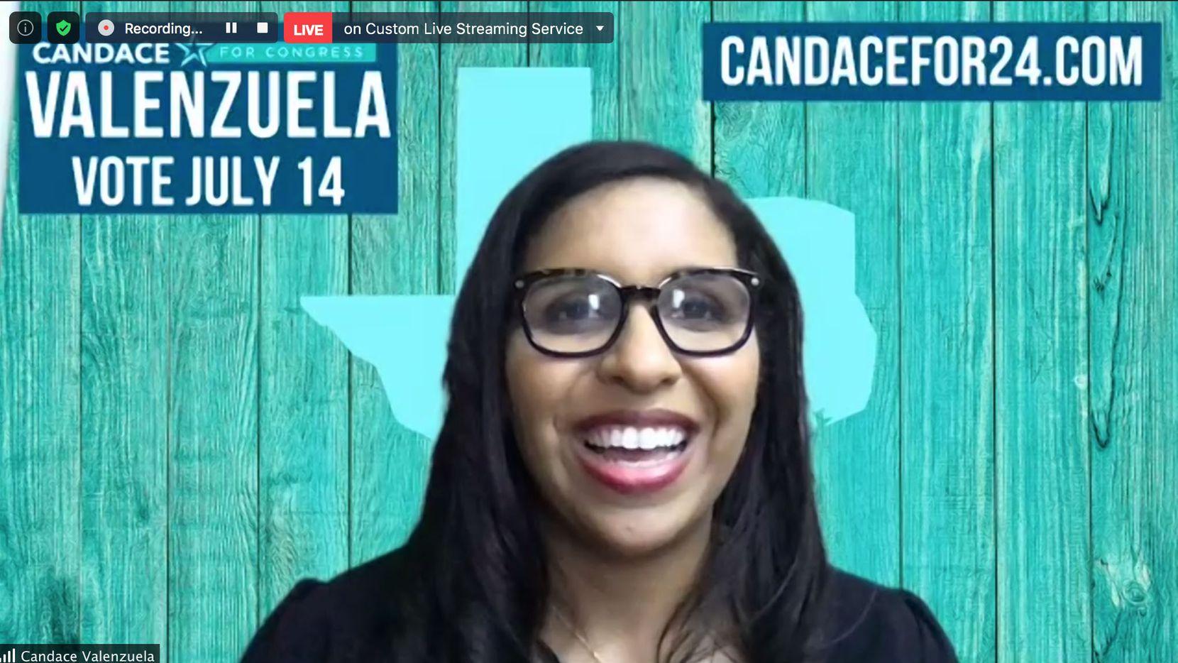 La candidata Candace Valenzuela declaró su victoria en la segunda ronda de la elección primaria demócrata, el martes por la noche. Valenzuela enfrentará a la republicana Beth Van Duyne por el puesto de representante federal del distrito 24.