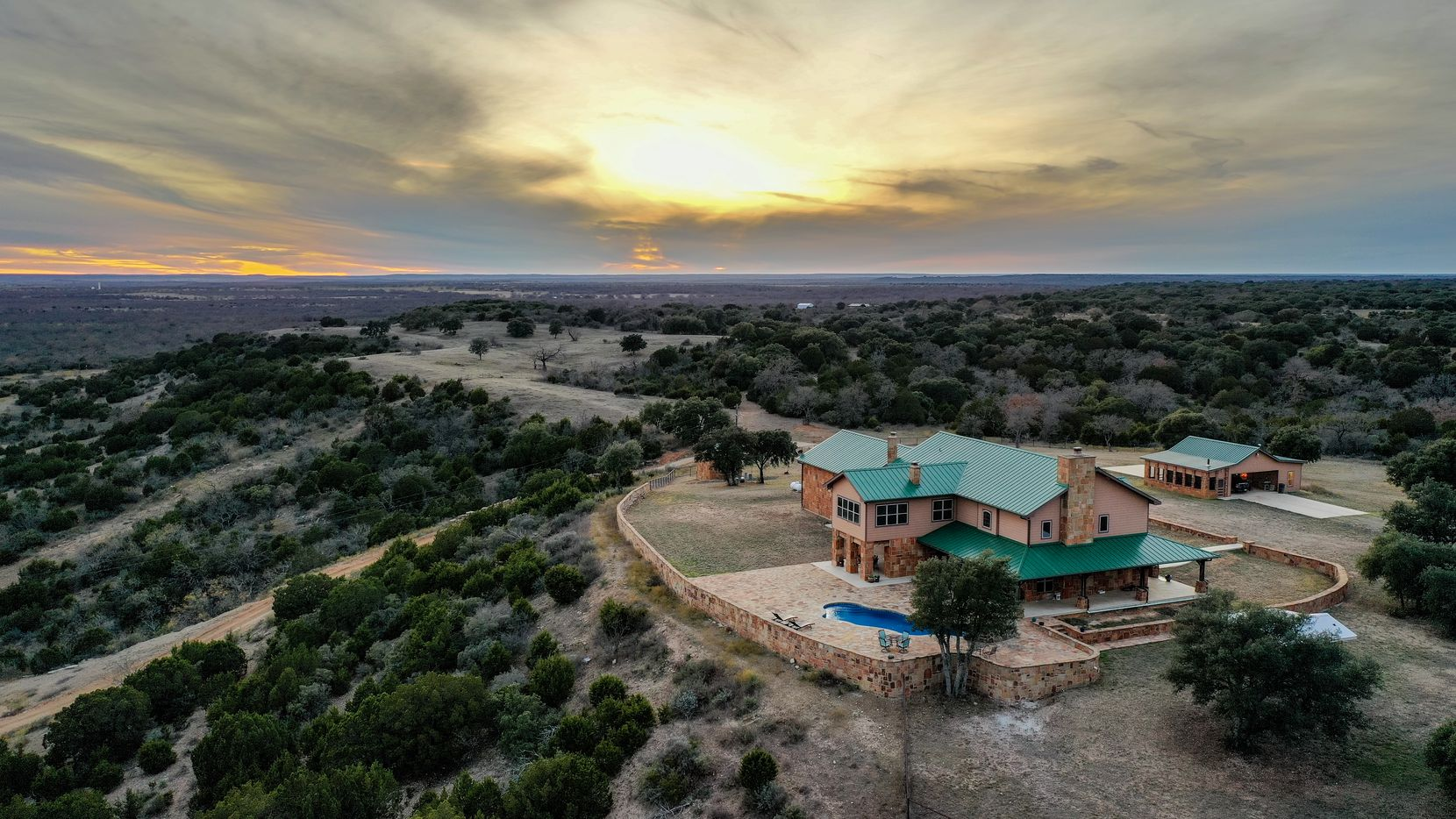 7D Ranch is near Lampasas and includes a six-year-old, 5,475-square-foot timber frame, lodge-style house.