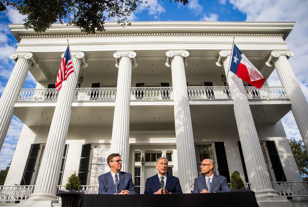 Lt. Governor Dan Patrick, Governor Greg Abbott and Speaker of the House Dennis Bonnen speak at a press conference at the Governor's mansion on the second day of the 86th Texas legislature on Wednesday, January 9, 2019 in Austin, Texas.