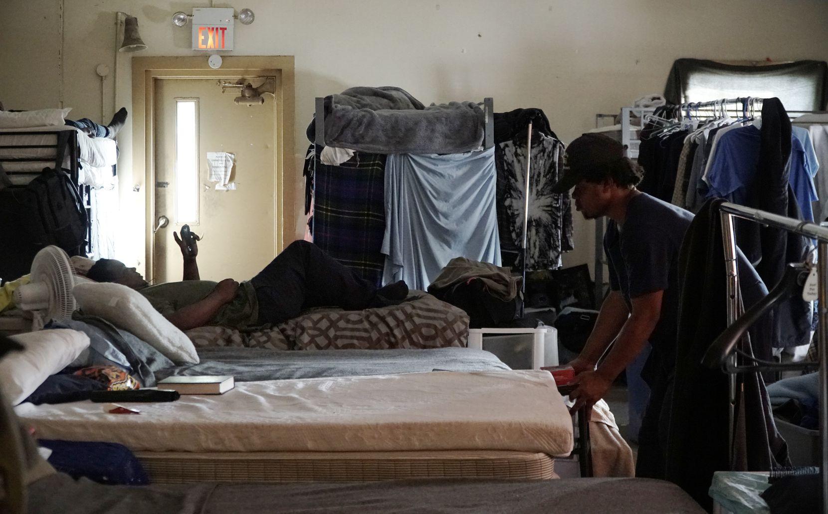Men relax in their dorm at Soul's Harbor in Dallas.