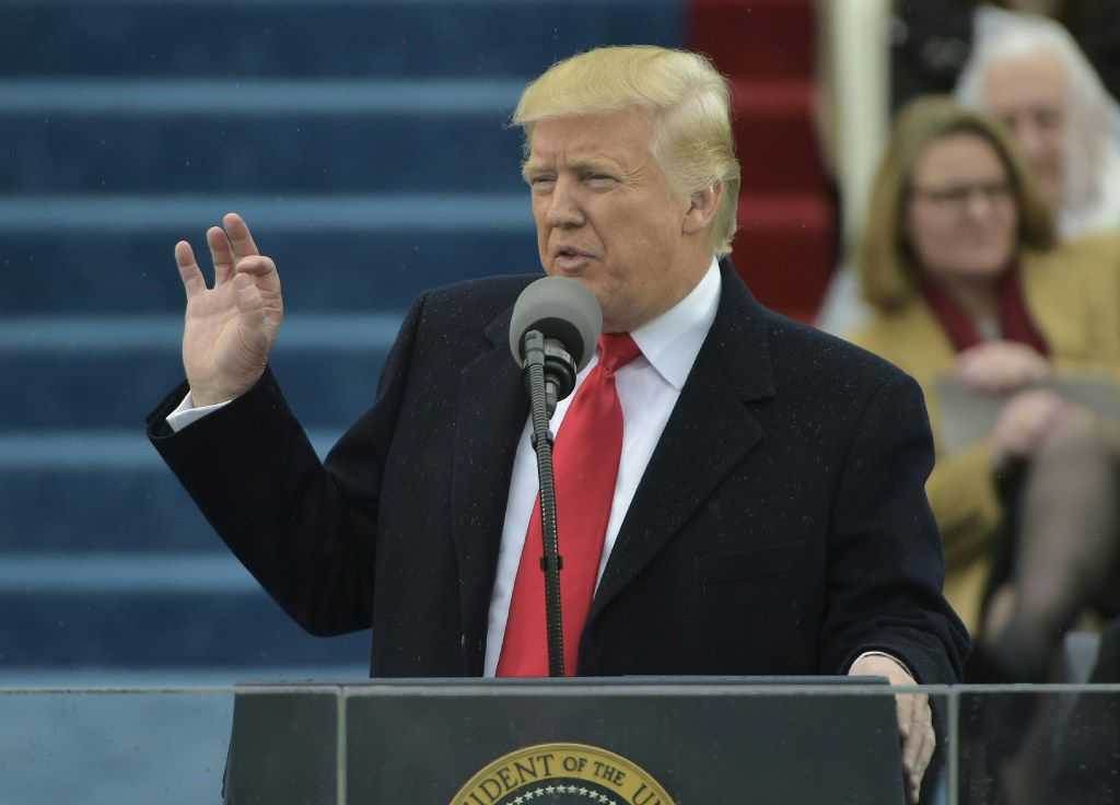 President Donald Trump addresses the crowd after taking the oath of office. (Mandel Ngan/AFP/Getty Images)