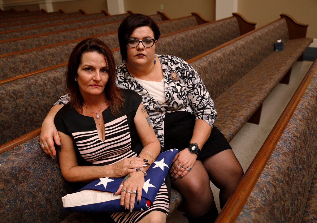Deanna Staton (left) and Kati Wall pose for a portrait after the funeral of Dennis and Sara Johnson at First Baptist Church in Floresville, Texas on Nov. 12, 2017. The The Johnsons were killed in the First Baptist Church in Sutherland Springs, Texas the site of a shooting that killed 26 parishioners and left 30 injured. (Nathan Hunsinger/The Dallas Morning News)