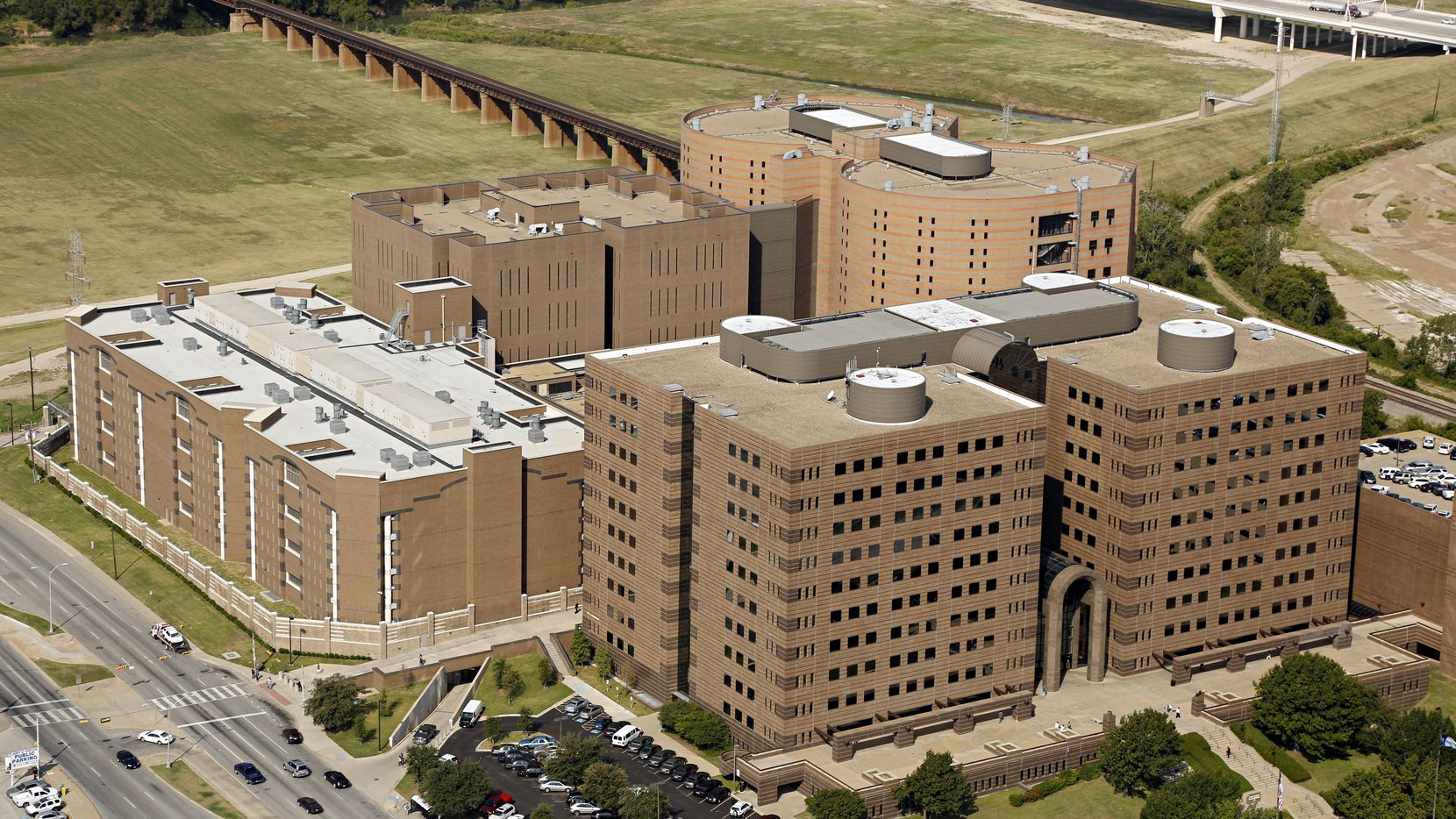 Aerial photograph of the Lew Sterrett Justice Center - including the Dallas County criminal courts (foreground) and the Dallas County Jail (background) - shot Monday, September 24, 2012 in Dallas. (G.J. McCarthy/The Dallas Morning News)