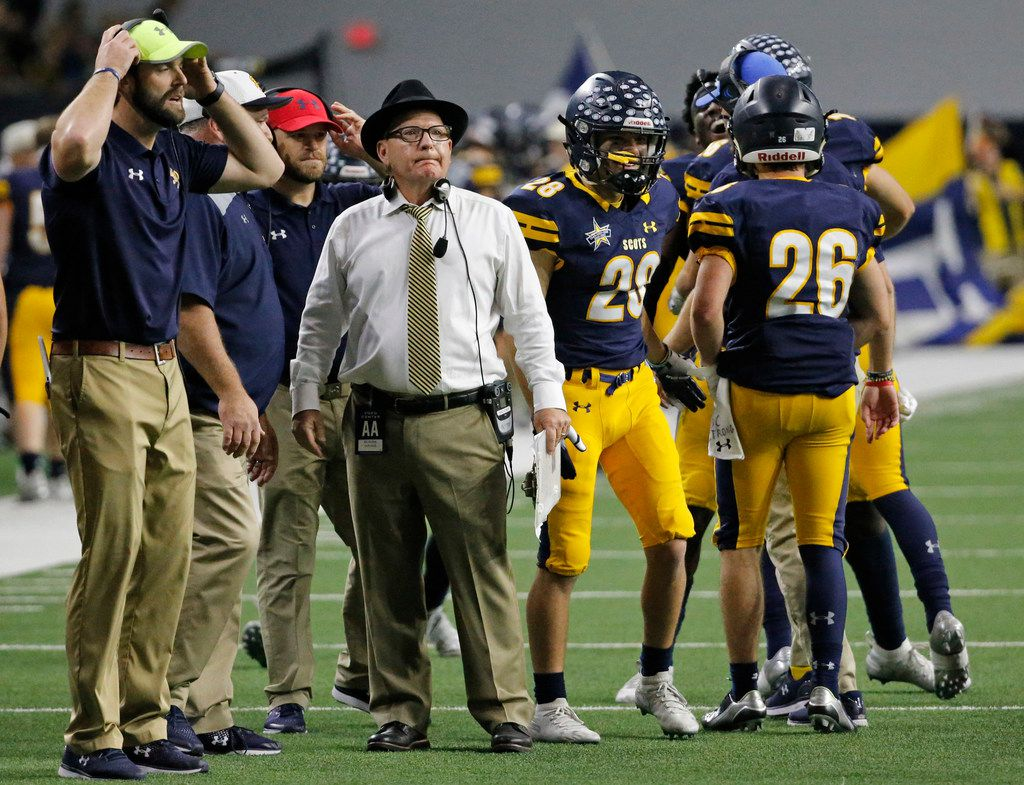 Scots head coach Randy Allen directs hois troops late in the game after the winning score during the Highland Park Scots vs. the Tyler John Tyler Lions Class 5A Division I Region II  high school football playoff game at the Star in Frisco, Texas on Saturday, December 8, 2018. (Louis DeLuca/The Dallas Morning News)