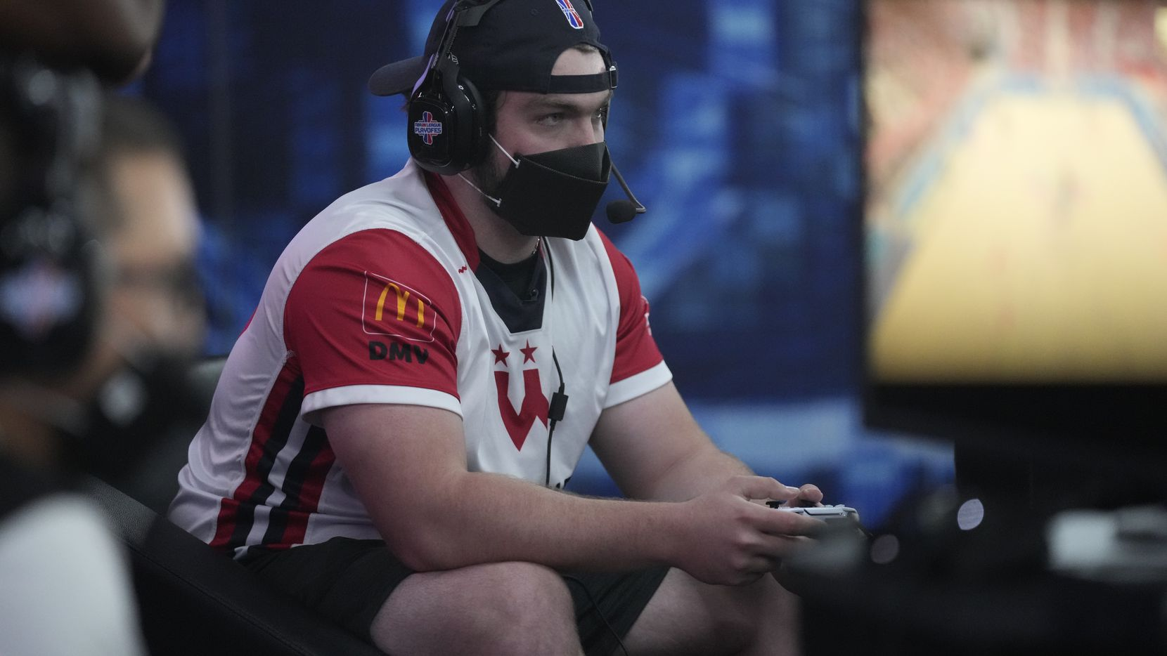 """Ryan """"DayFri"""" Conger during the semifinals of the 2021 NBA 2K League Playoffs on August 28, 2021 in Dallas, Texas at the Mavs Gaming Hub."""
