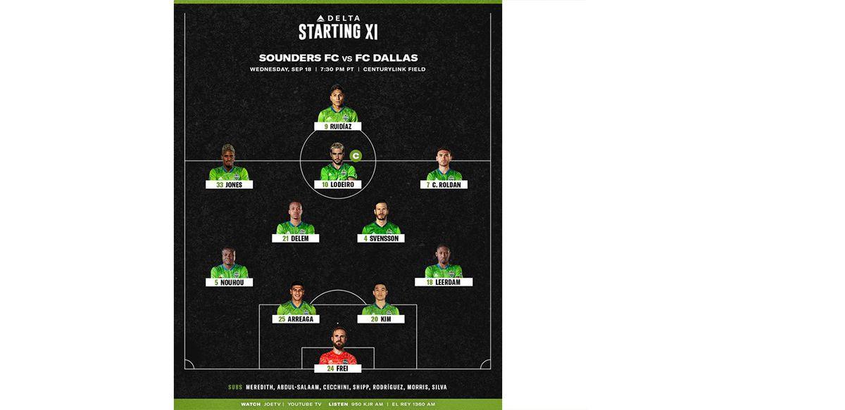 Seattle Sounders starting XI vs FC Dallas. (9-18-19)
