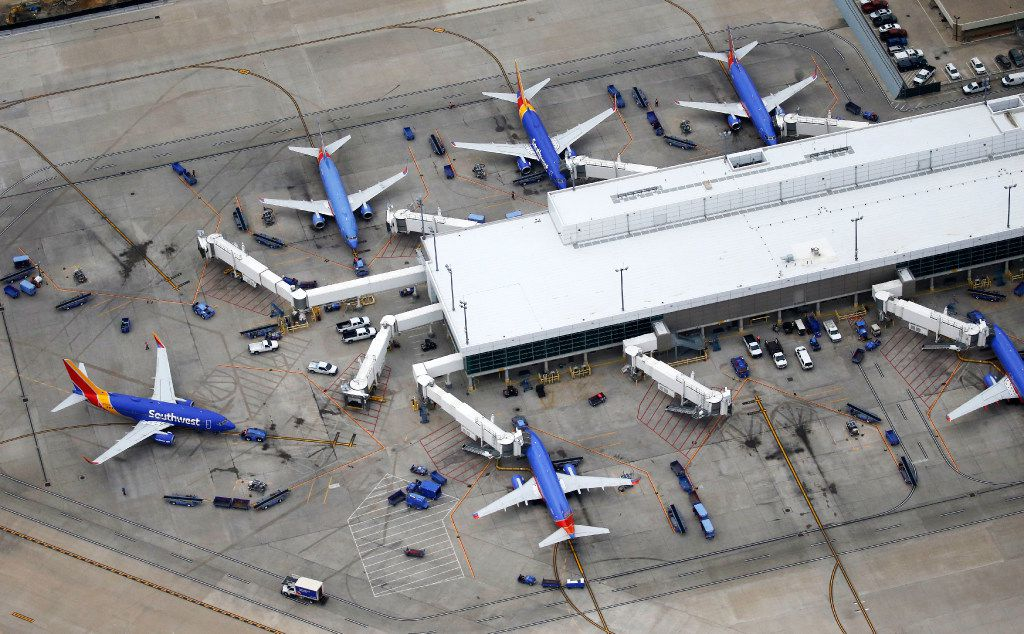 Southwest Airlines airplanes at their respective gates at Dallas Love Field Airport in Dallas on Thursday, February 2, 2017. (Vernon Bryant/The Dallas Morning News)
