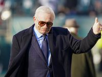 Dallas Cowboys owner Jerry Jones gives a thumbs up to fans before an NFL football game against the Philadelphia Eagles at Lincoln Financial Field on Sunday, Dec. 22, 2019, in Philadelphia.