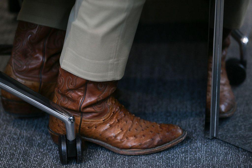 Sporting cowboy boots U.S. Senator Ted Cruz, running against Congressman Beto OÕRourke in the Texas U.S. Senate race, talks with The Dallas Morning News Editorial Board on Thursday, Oct. 18, 2018 in Dallas, Texas. (Ryan Michalesko/The Dallas Morning News)