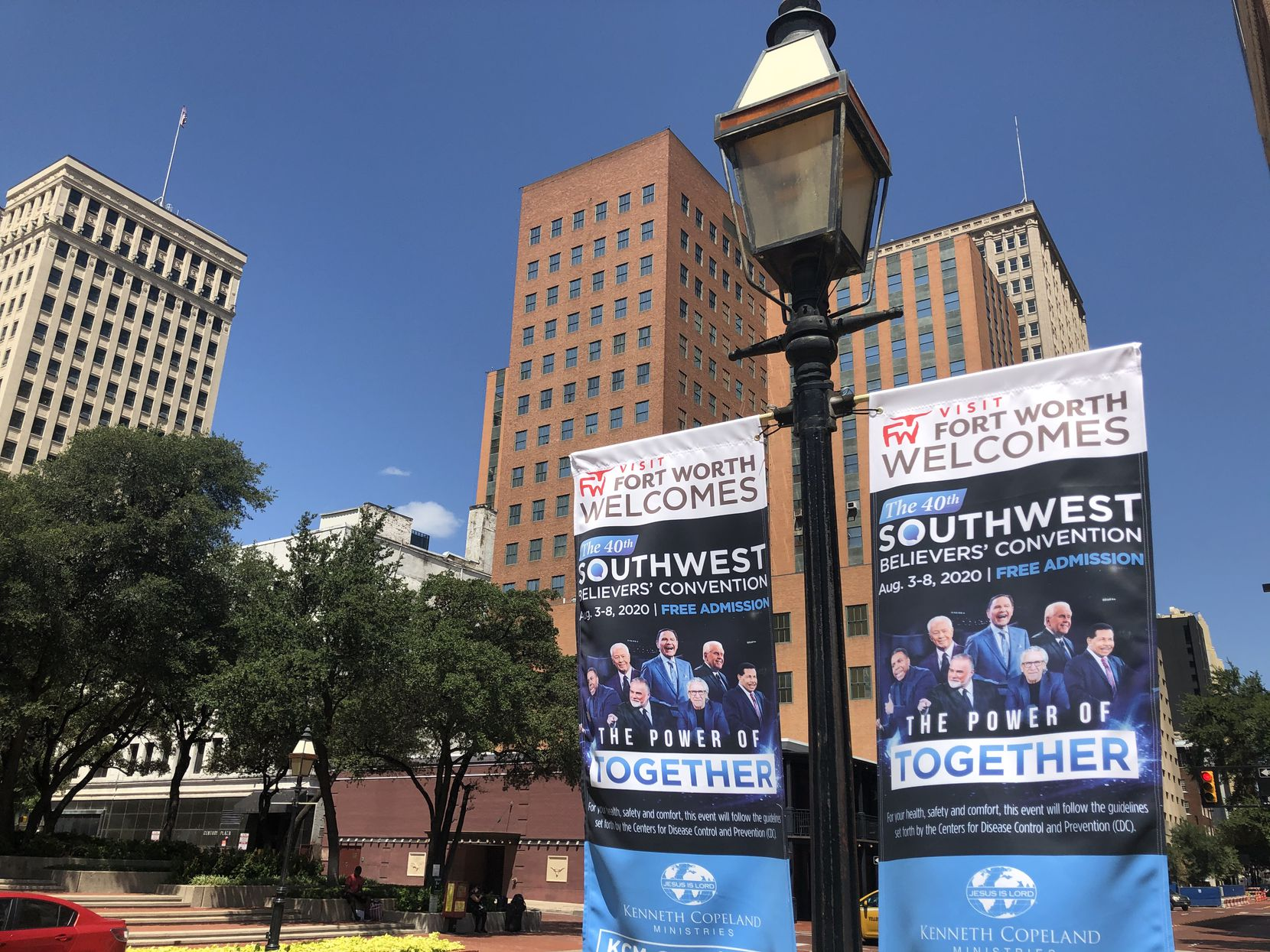 Banners for Kenneth Copeland's religious revival hang on Fort Worth streets. The event was Aug. 3-8, 2020, during a pandemic.