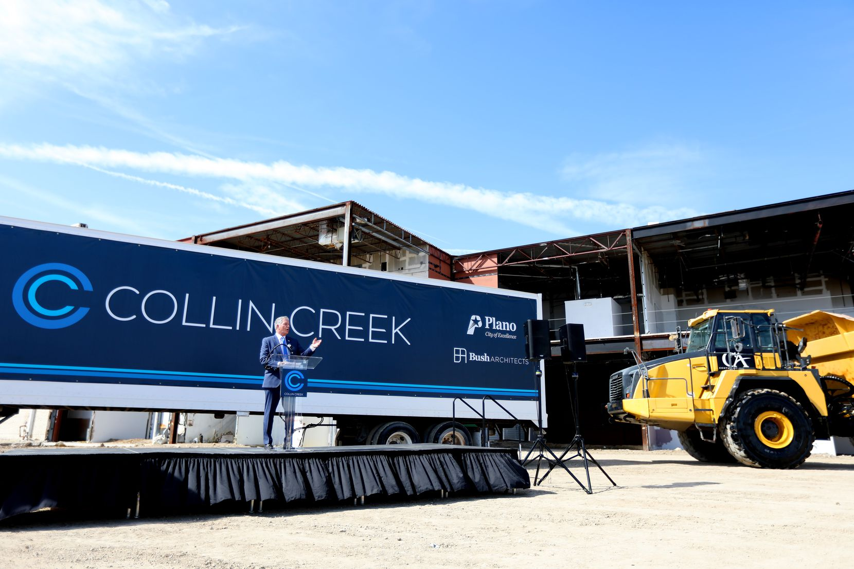 Plano Mayor John Muns speaks at the groundbreaking for the development being built on the site of Collin Creek Mall.