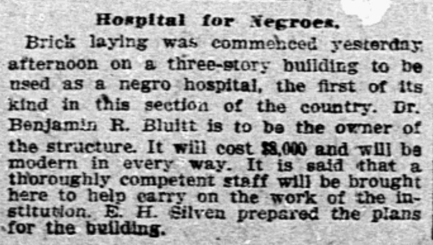 A News clipping from Dec. 30, 1904, details the start of bricklaying for what would eventually become the Bluitt Sanitarium, opened in 1906.