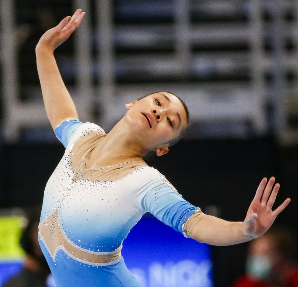 Leanne Wong performs during day 1 of the senior women's US gymnastics championships on Friday, June 4, 2021, at Dickies Arena in Fort Worth. (Juan Figueroa/The Dallas Morning News)