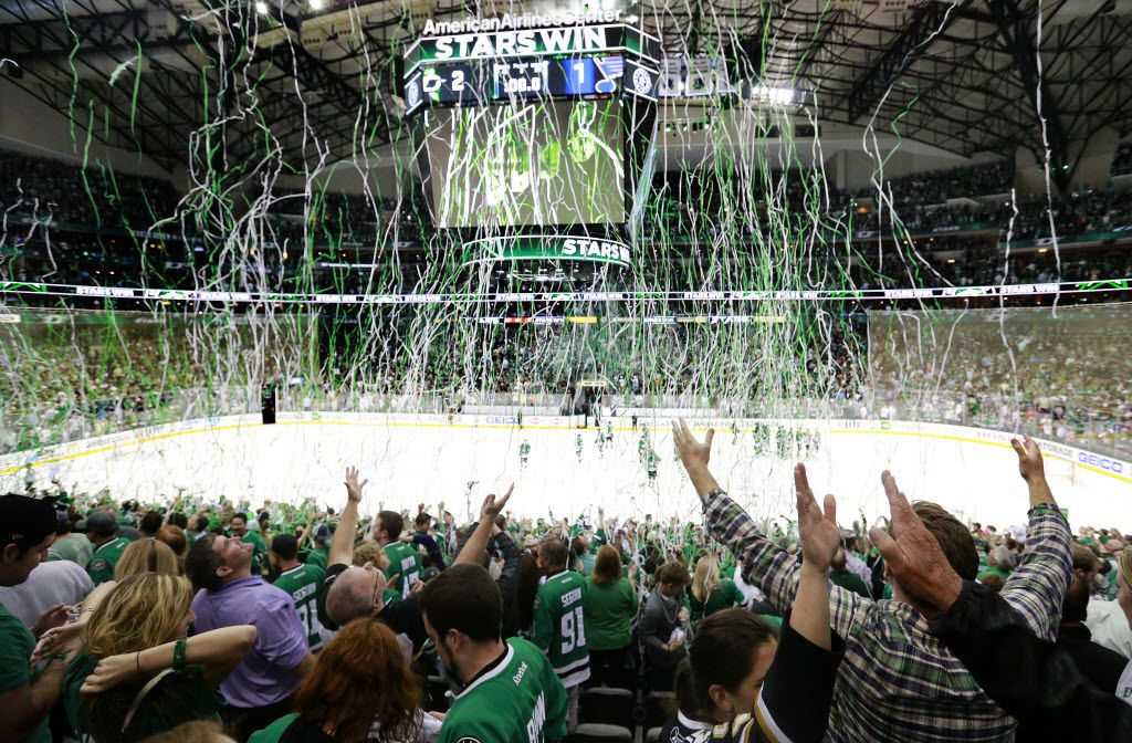 Streamers fall from the rafters as Dallas Stars fans celebrate their team's 2-1 victory over the St. Louis Blues in Game 1 of the Western Conference Semifinals at the American Airlines Center in Dallas, Friday, April 29, 2016.  The Stars won, 3-2. (Tom Fox/The Dallas Morning News)