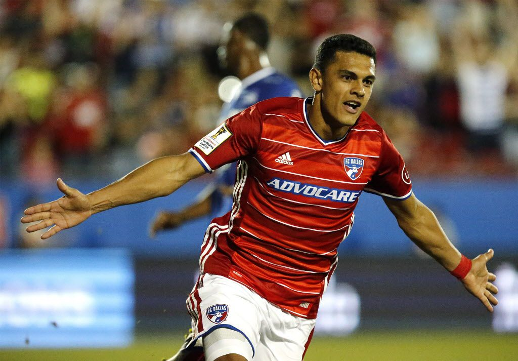FC Dallas's Cristian Colman (9) celebrates the first goal of the game during the first half as FC Dallas hosted Deportivo Arabe Unido on Thursday night, February 23, 2017. (Stewart F. House/Special Contributor)