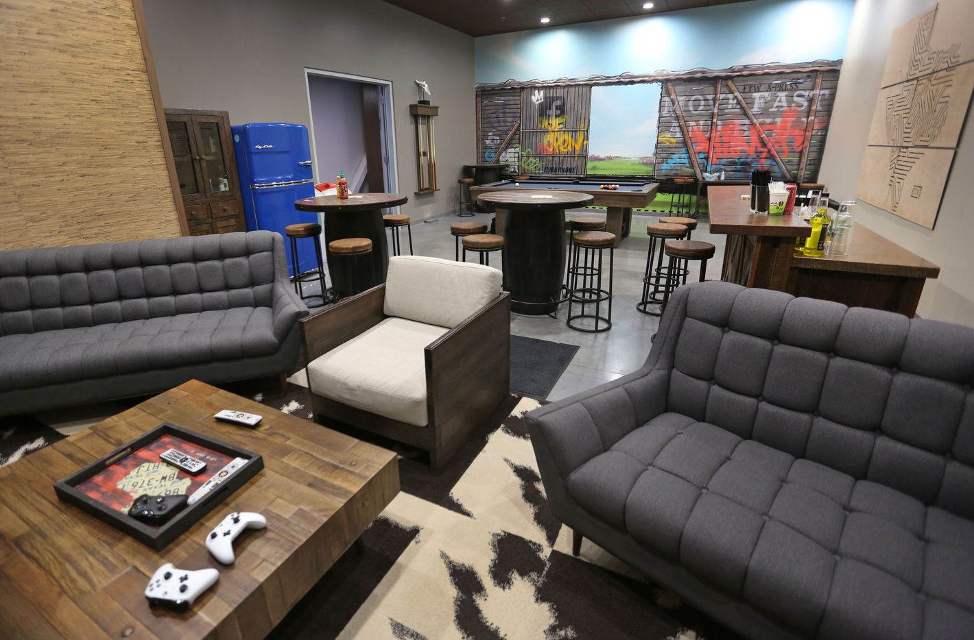 A look at the employee's break room during the grand opening and tour of FacebookÕs Fort Worth Data Center, photographed on Thursday, May 4, 2017. (Louis DeLuca/The Dallas Morning News)
