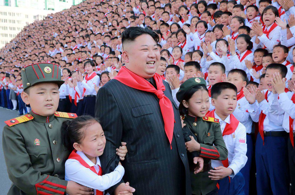 This picture taken on June 6, 2017 and released from North Korea's official Korean Central News Agency (KCNA) on June 9 shows North Korean leader Kim Jong-Un (C) at a photo session with the participants in the 8th Congress of the Korean Children's Union (KCU) in Pyongyang. / AFP PHOTO / KCNA VIA KNS / STRSTR/AFP/Getty Images