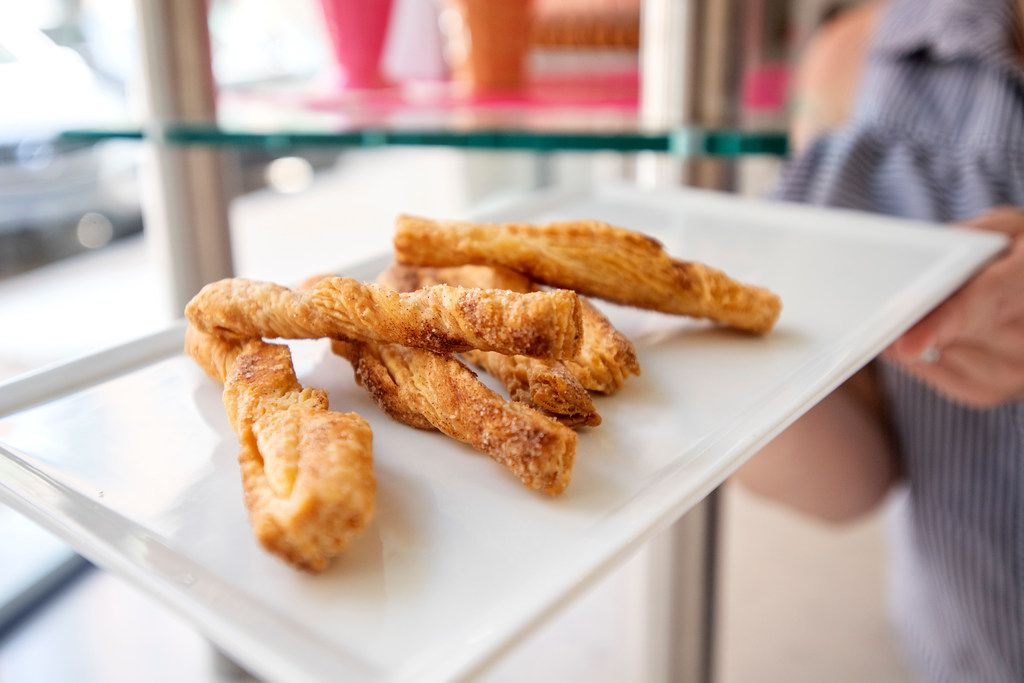 Cinnamon pie twists made from the scraps of pie dough at Bisous Bisous Patisserie.