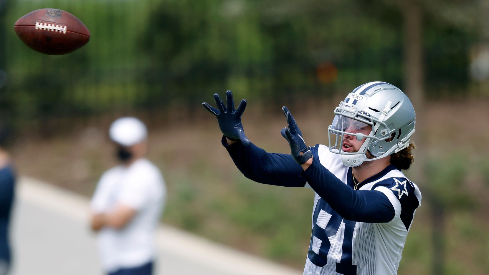 Dallas Cowboys rookie wide receiver Simi Fehoko (81) catches a ball during a rookie minicamp drill at the The Star in Frisco, Texas, Friday, May 14, 2021.