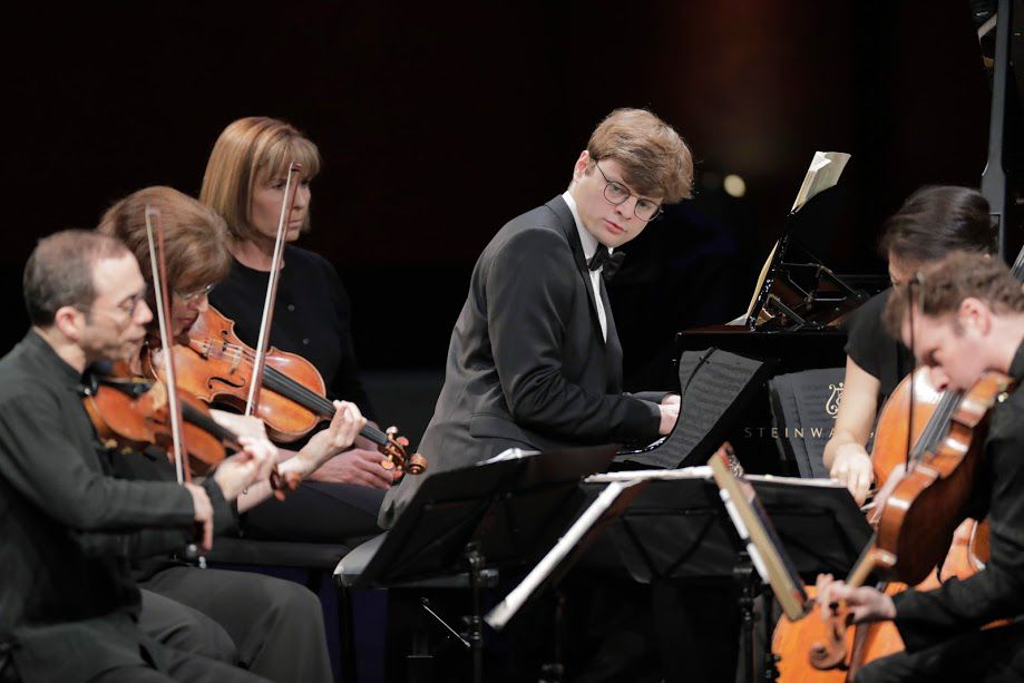 Pianist Georgy Tchaidze performs a Dvorák quintet with the Brentano String Quartet in the Final Round of the Van Cliburn International Piano Competition.