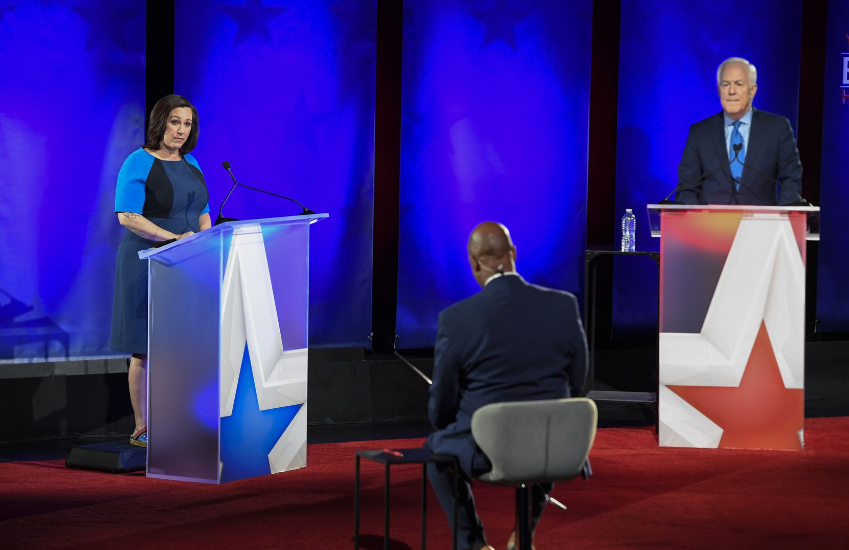 Republican U.S. Sen. John Cornyn of Texas and Democratic challenger MJ Hegar of Round Rock faced off in a televised debate Oct. 9 at the Bullock Texas State History Museum.
