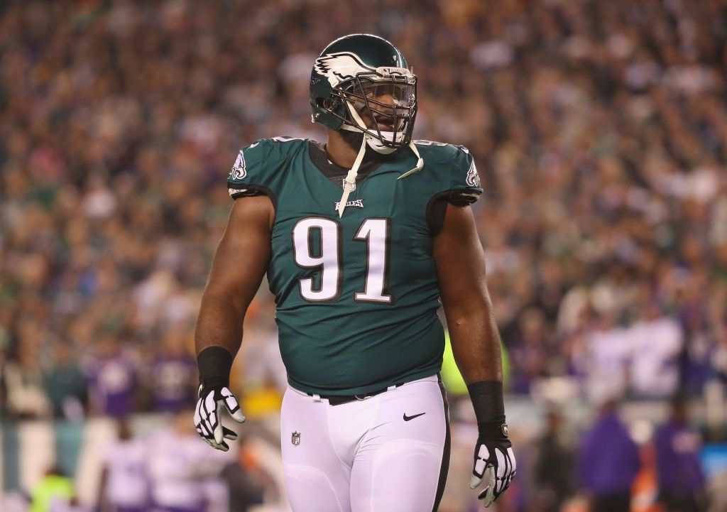PHILADELPHIA, PA - JANUARY 21: Fletcher Cox #91 of the Philadelphia Eagles reacts after a first quarter touchdown by the Minnesota Vikings in the NFC Championship game at Lincoln Financial Field on January 21, 2018 in Philadelphia, Pennsylvania.  (Photo by Abbie Parr/Getty Images)