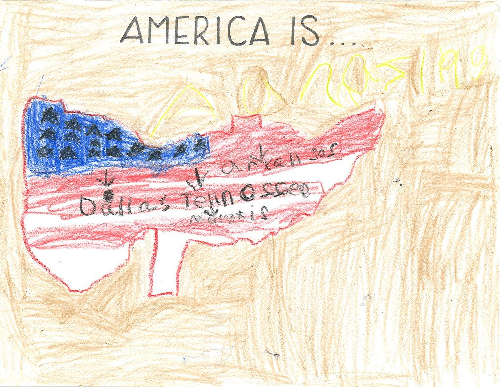 "J.P., 6, colored the United States red, white and blue to illustrate what ""America Is"" to him."
