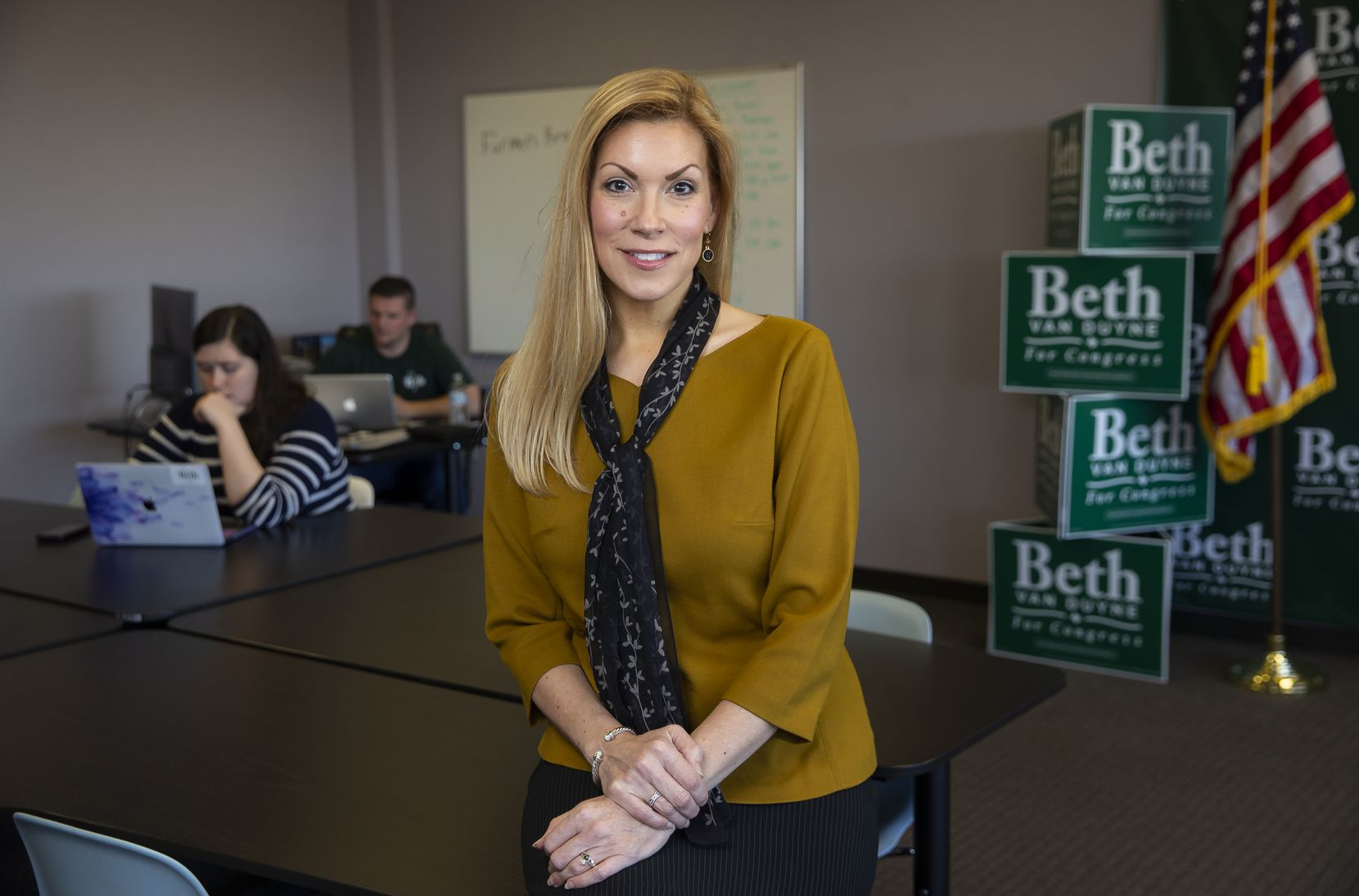 Beth Van Duyne, the former mayor of Irving who's running for the 24th Congressional District, poses for a photo at her campaign headquarters in Grapevine.