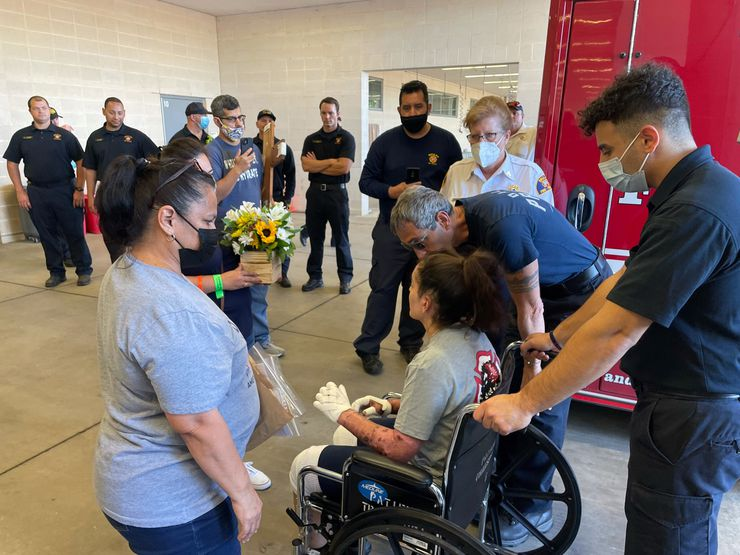 Dallas Fire-Rescue Officer Pauline Perez is discharged from Parkland Memorial Hospital on Friday.