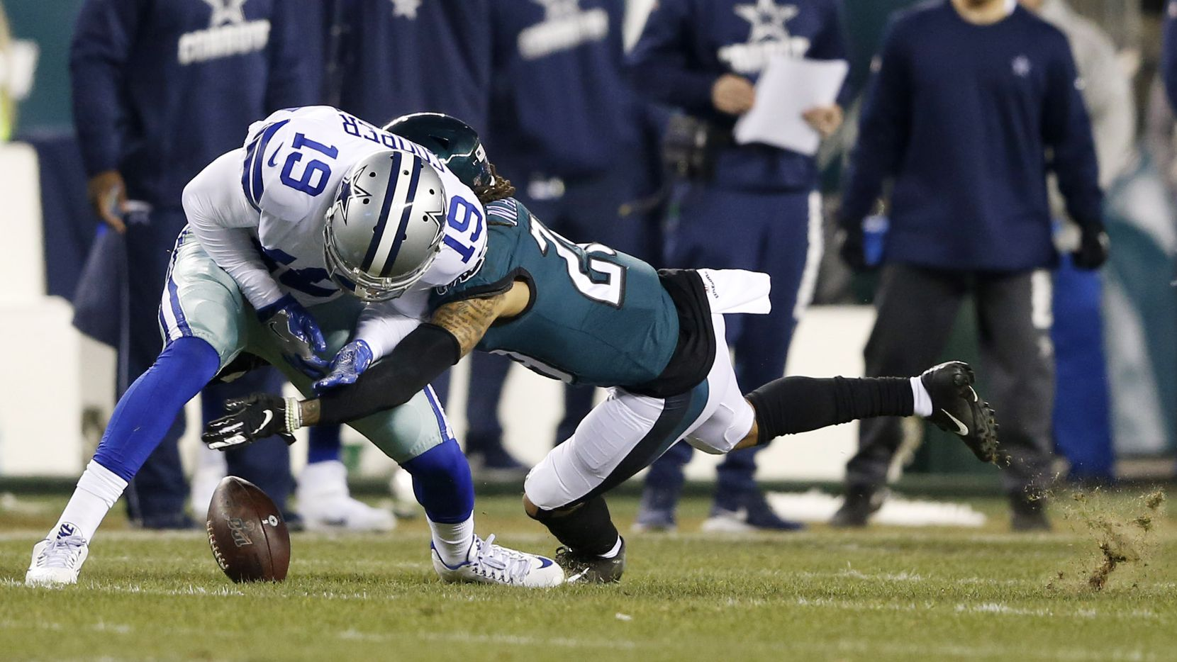 Cowboys receiver Amari Cooper (19) drops a pass on third down as Eagles cornerback Avonte Maddox (29) defends during the first half of play at Lincoln Financial Field in Philadelphia on Sunday, Dec. 22, 2019. (Vernon Bryant/The Dallas Morning News)