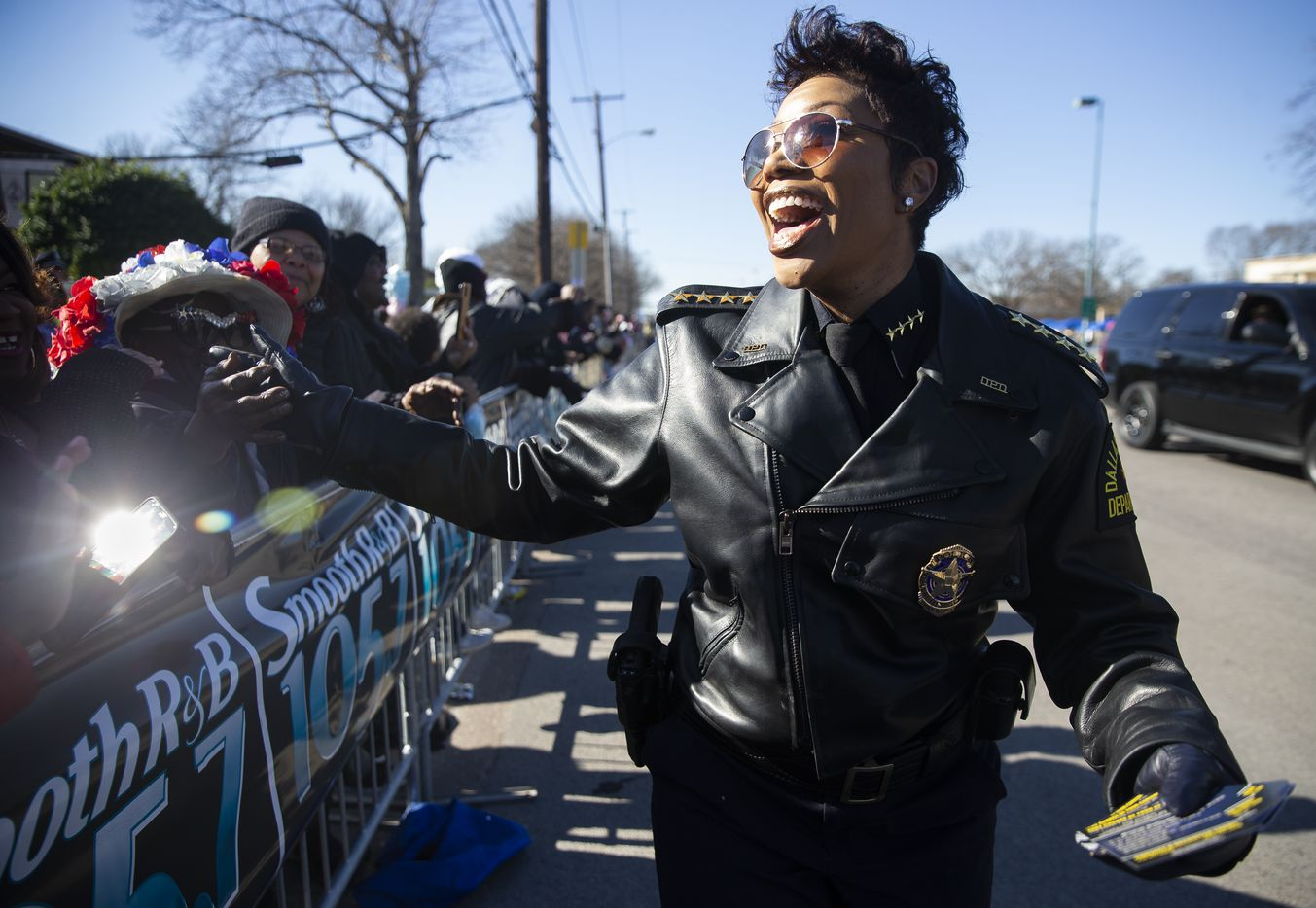 Dallas Police Chief U. Renee Hall greets people as she makes her way down Martin Luther King Jr. Blvd during the 38th annual MLK Parade on Jan. 20, 2020 in Dallas. (Juan Figueroa/ The Dallas Morning News)