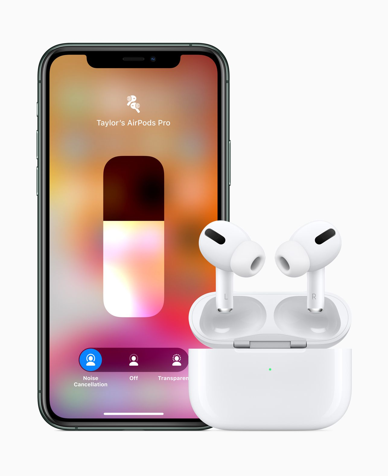 Apple's AirPods Pro with the iPhone control screen to change listening modes.