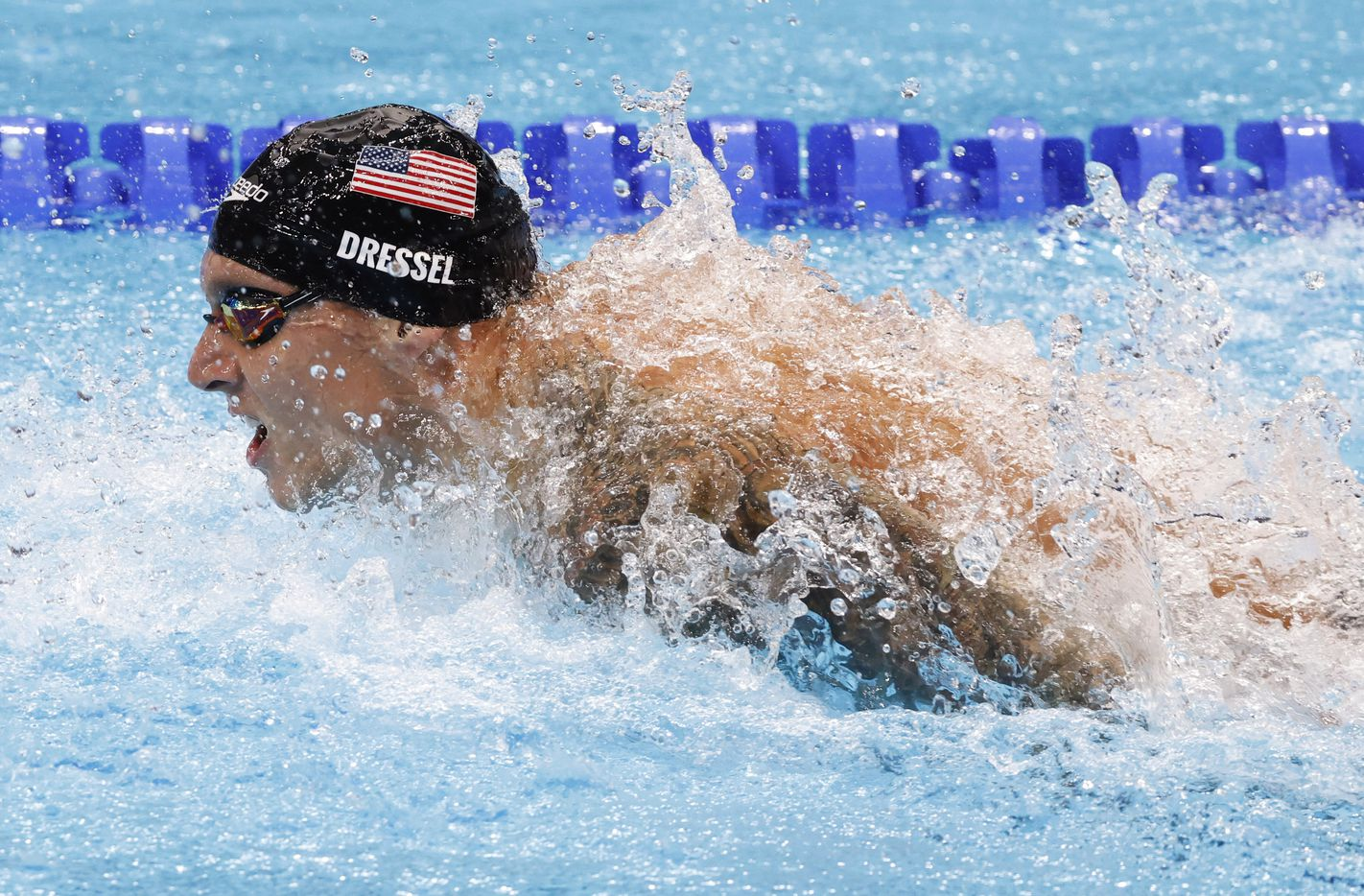 USA's Caeleb Dressel competes in the men's 4x100 meter medley relay final during the postponed 2020 Tokyo Olympics at Tokyo Aquatics Centre, on Sunday, August 1, 2021, in Tokyo, Japan. USA earned a gold medal, setting a new world record with a time of 3:26.78. (Vernon Bryant/The Dallas Morning News)