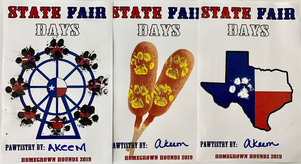 Dogs can create State Fair of Texas-themed paw paintings through Oct. 20.
