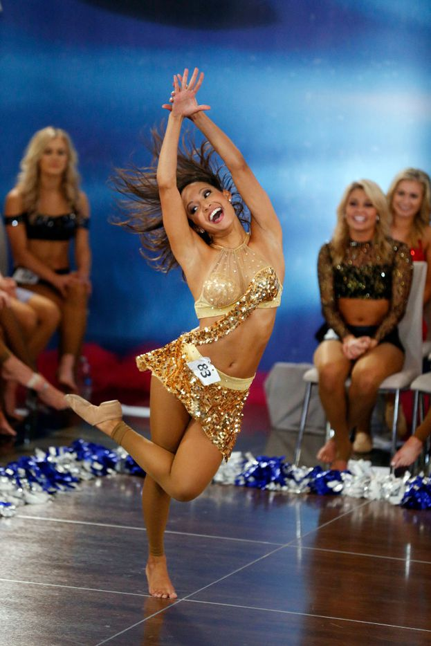 Veteran cheerleader Cersten of Euless dances during the individual talent portion of tryouts for the Dallas Cowboys Cheerleaders.